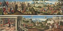 Scenes from Orlando Furioso: Agramante laying siege to Paris, Charlemagne leading Angelica away from Orlando, and Orlando routing the Moorish squadrons; and The duel of Orlando and Manricardo, the duel of Manricardo and Zerbino, and Astolfo delivering Senapo from the Harpies