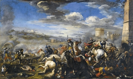 Battle scene with infantry, ca