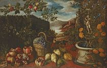 Pomegranates, grapes in a basket and citrons in a formal garden with fruit trees and a fountain, an extensive landscape beyond