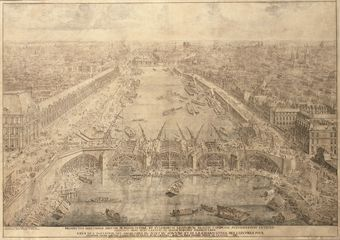 View of the construction of the Pont-Royal, Paris, in 1687
