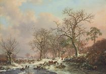 Wood gatherers in a winter landscape, with a castle beyond