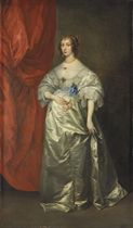 Portrait of Mrs. Oliver St. John, later Lady Poulett, full-length, holding pink roses, in a grey silk dress, before a draped red curtain