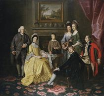 Group portrait of Sir James and Lady Hodges and their family, gathered around a table in an interior