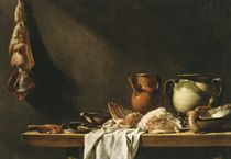 Table de cuisine: Earthenware jugs and meat on a partly-draped kitchen table