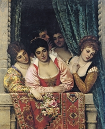 Venetian ladies on a balcony