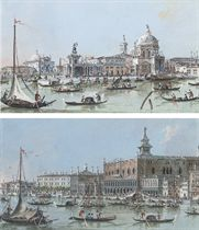 View of the Doge's Palace and the Riva degli Schiavoni, Venice; and View of the Salute and Dogana, Venice