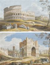 View of the Colosseum, Rome; and View of the Arch of Janus with the Church of S. Giorgio in Velabro, Rome