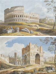 View of the Colosseum, Rome; a