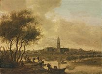 A panoramic view of the Rhine at Rhenen, from the south bank of the Nederijn, with the Church of Saint Cunera