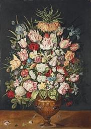 Tulips, roses, a chrysanthemum