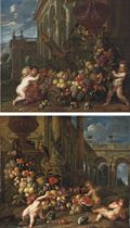 An architectural capriccio with putti around a swag of fruit, with a parrot and guineau pigs; and An architectural capriccio with putti around a swag of fruit, with a parrot, squirrel and rabbits