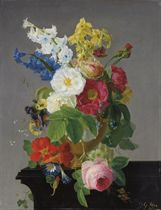 Camelias, narcissi, morning glory, a rose and other flowers in a gold urn on a wooden ledge