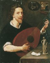 Portrait of a gentleman, probably Nicholas Lanier (1588-1666), Master of the King's Musick, half-length, seated, playing a lute, with a statuette of the Belvedere Antinous