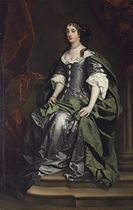 Portrait of Barbara Villiers, Countess of Castlemaine, 1st Duchess of Cleveland (1640-1709), full-length, in a silver silk dress and green mantle