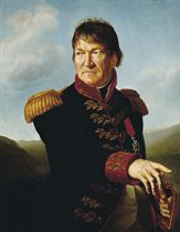 Portrait of Baron Ségoing de Laborde, half-length, in military uniform, wearing the red ribbon and enamel star of the Imperial order of the Legion of Honour, in a landscape
