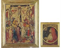The Crucifixion (recto): a Female saint experiencing a vision (verso)