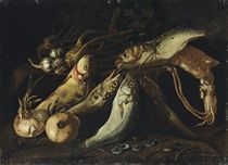Fish, onions, garlic, a squid, mussels and barnacles on a stone ledge