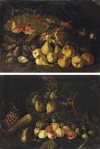 Plums, pears, apples, a melon, a basket of grapes and other fruit and mushrooms on a stone ledge; and Peaches, zucchini, artichokes, asparagus, grape-leaves and figs on a stone ledge