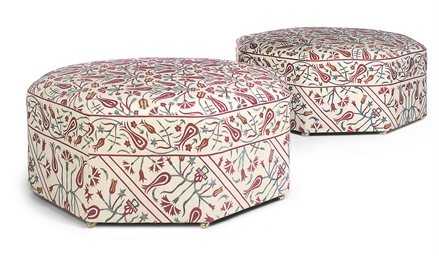 A PAIR OF SUSANI-UPHOLSTERED O