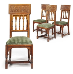 A SET OF FOUR VICTORIAN TEAK S