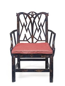 A GEORGE III BLACK AND GILT-JAPANNED OPEN ARMCHAIR