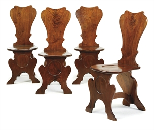 A SET OF FOUR GEORGE II WALNUT
