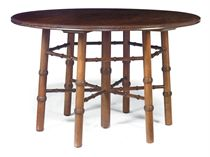 AN ARTS AND CRAFTS MAHOGANY CIRCULAR CENTRE TABLE