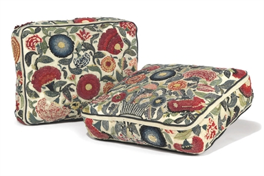 TWO QUEEN ANNE CUSHIONS OF WOO