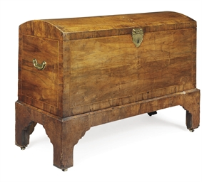 A GEORGE II WALNUT COFFER-ON-S