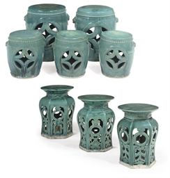 EIGHT CHINESE TURQUOISE-GLAZED