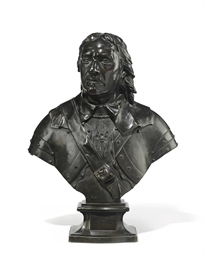 AN ENGLISH BRONZE BUST OF OLIV