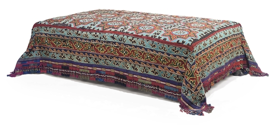 A PERSIAN RESCHT COVERED STOOL