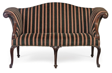 A GEORGE II MAHOGANY SOFA OF S