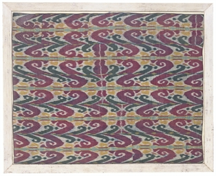 A FRAMED PANEL OF IKAT SILK OF