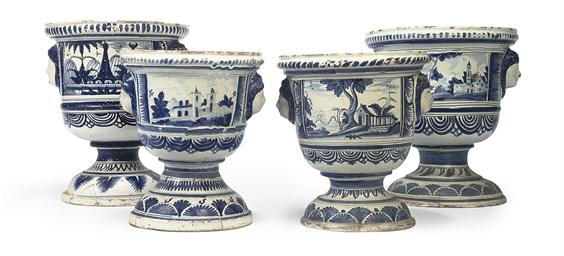 FOUR GERMAN FAIENCE BLUE AND W