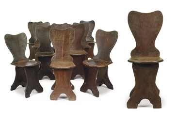 A SET OF TEN GEORGE III OAK HA