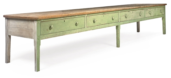 A VICTORIAN GREEN-PAINTED PINE