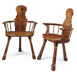 A PAIR OF SOLID YEW ARMCHAIRS