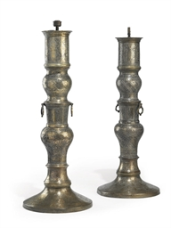 A PAIR OF CAIR0-WARE BRASS LAM