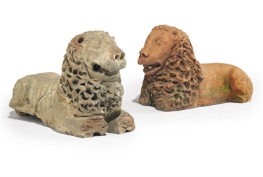 TWO TERRACOTTA LIONS