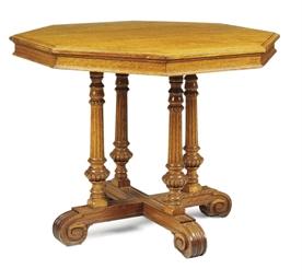 A VICTORIAN OAK OCTAGONAL TABL