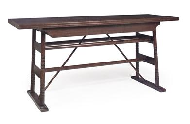AN OAK AND MAHOGANY SIDE TABLE