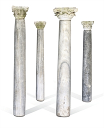 A SET OF FOUR MARBLE COLUMNS A
