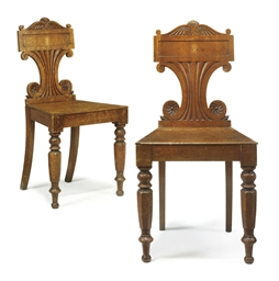 A PAIR OF REGENCY OAK HALL CHA
