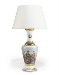 AN OPALINE GLASS VASE LAMP