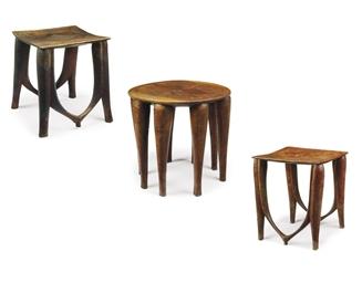 THREE NUPE TABLES/STOOLS