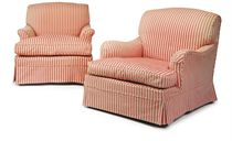 A MATCHED PAIR OF VICTORIAN EASY ARMCHAIRS