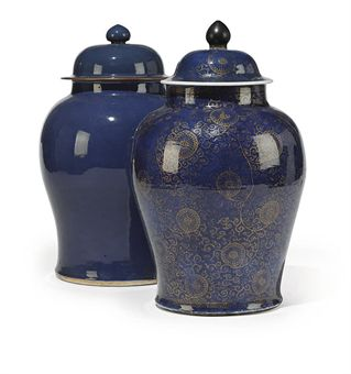TWO CHINESE TEMPLE JARS AND COVERS OF LARGE SIZE