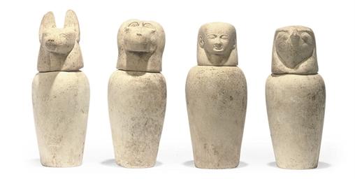 FOUR EGYPTIAN STYLE LIMESTONE