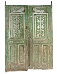 A PAIR OF OTTOMAN GREEN-PAINTE